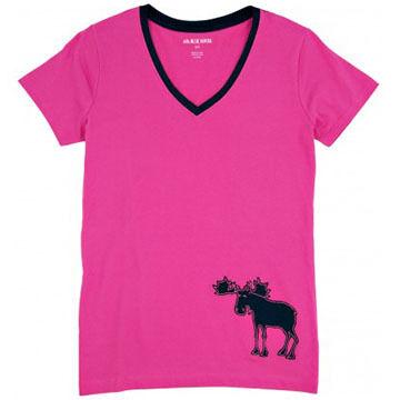 Hatley Womens Pink & Navy Moose Short-Sleeve Sleep T-Shirt