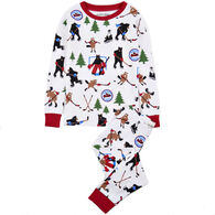 Hatley Little Blue House Boys' & Girls' Hockey Night in the Wild Pajama Set