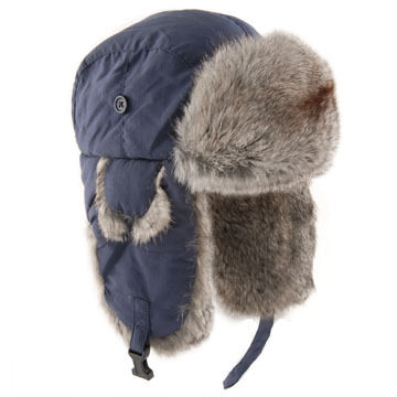 Yukon Tracks Mens Nylon Aviator Hat with Rabbit Fur