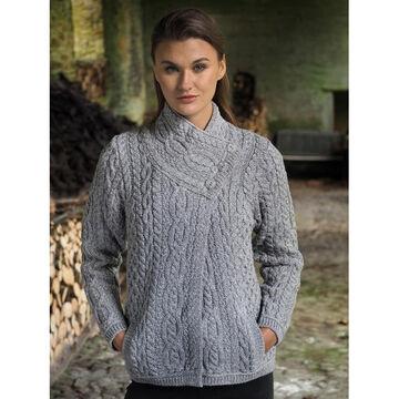 Aran Crafts Womens Three Button Jacket Irish Sweater