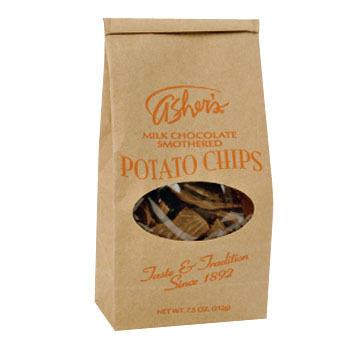 Ashers Chocolates Milk Chocolate Smothered Potato Chips, 7.5 oz.