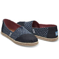 TOMS Women's Navy Stars Woven Alpargata Slip-On Shoe