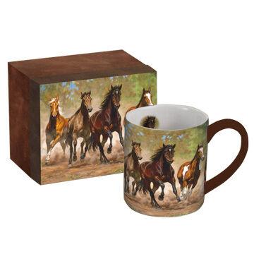 Lang Horses In The Mist Taking Flight Ceramic Coffee Mug