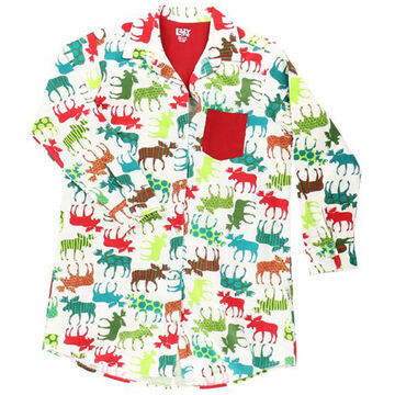 Lazy One Womens Pattern Moose Button Down Nightshirt