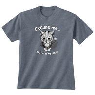 Earth Sun Moon Trading Women's Excuse Me Cat Short-Sleeve T-Shirt