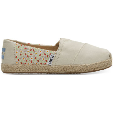TOMS Girls Youth Local Floral Print Rope Classic Alpargatas Shoe