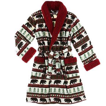 Lazy One Womens Bear Fair Isle Robe
