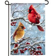 Evergreen Winter Cardinals Garden Flag