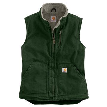 Carhartt Womens Sandstone Sherpa-Lined Mock-Neck Vest