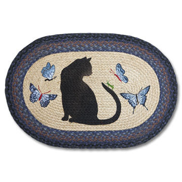 Capitol Earth Oval Cat with Grasshopper & Butterflies Braided Rug