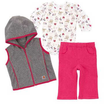 Carhartt Infant/Toddler Girls Barnyard Friends Pant Set, 3pc