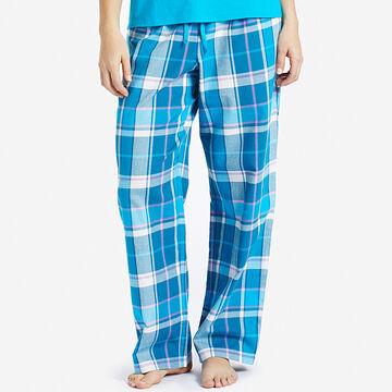 Life is Good Womens Blue Plaid Classic Sleep Pant