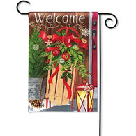 BreezeArt Mountain Cabin Sled Garden Flag
