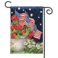 BreezeArt Geraniums With Flags Garden Flag