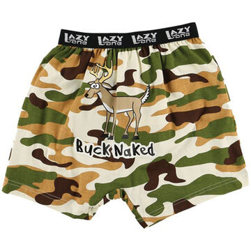 Lazy One Mens Buck Naked Camo Comical Boxer Short