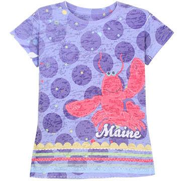 Lakeshirts Girls Blue 84 Maine Lobster Short-Sleeve T-Shirt