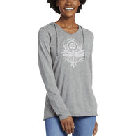 Life is Good Women's Primal Dragonfly Long-Sleeve Hooded Smooth T-Shirt