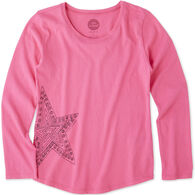 Life is Good Girls' Primal Star Smiling Long-Sleeve Smooth T-Shirt