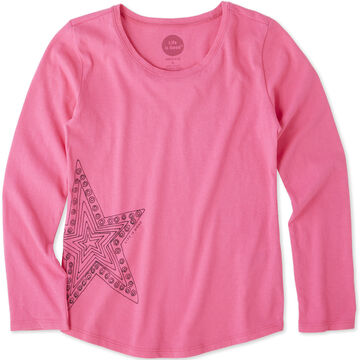 Life is Good Girls Primal Star Smiling Long-Sleeve Smooth T-Shirt