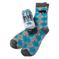 Hatley Little Blue House Men's Ice Cold Bear Beer Can Crew Sock