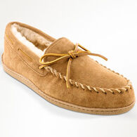 Minnetonka Men's Sheepskin Hardsole Moccasin Slipper