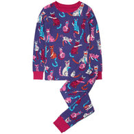 Hatley Girl's Patchwork Kitty Organic Cotton Pajama Set