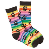 K. Bell Youth Rainbow Stripe Paw Prints Crew Sock