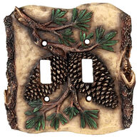 Rivers Edge Pine Cone Double Switch Plate Cover