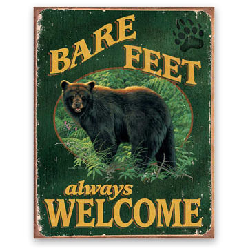 Wild Wings Bare Feet Always Welcome Bear Tin Sign