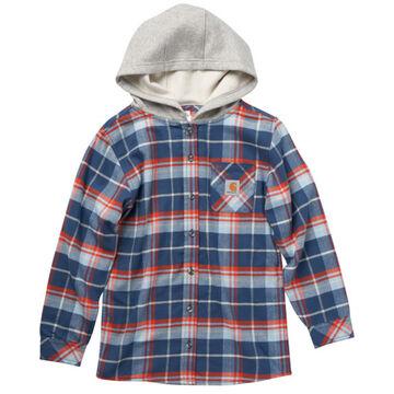 Carhartt Boys Flannel Button Down Hooded Long-Sleeve Shirt