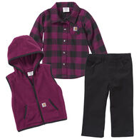 Carhartt Infant Girl's Flannel/Vest 3-Piece Set