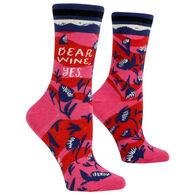 Blue Q Women's Dear Wine Yes Crew Sock