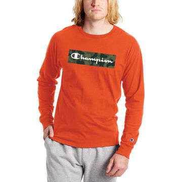 Champion Mens Classic Camo Graphic Script Logo Long-Sleeve T-Shirt