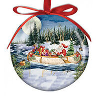 Cape Shore Spliced Ball Santa In Birch Canoe Ornament