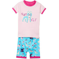 Hatley Girl's Playful Pooches Applique Organic Cotton Short Pajama Set
