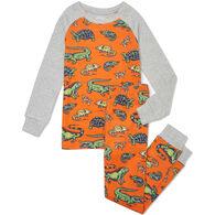 Hatley Boy's Aquatic Reptiles Organic Cotton Raglan Long-Sleeve Pajama Set