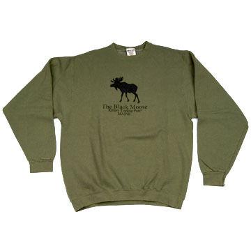 Original Design Mens Black Moose Crew-Neck Sweatshirt