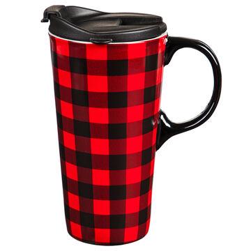 Evergreen Red & Black Buffalo Plaid Ceramic Travel Cup w/ Lid