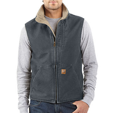 Carhartt Men's Big & Tall Sandstone Mock-Neck Sherpa-Lined Vest