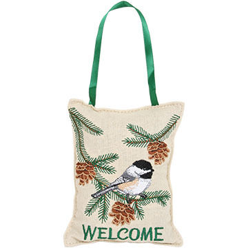 """Paine Products 4.5"""" x 6"""" Embroidered Chickadee Balsam Hanger Pillow"""