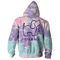 Puppie Love Women's Cotton Candy Tie Dye Pup Hoodie