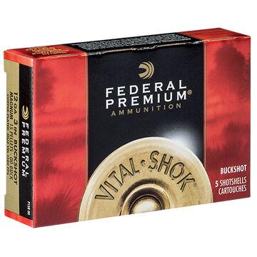 "Federal Premium Vital-Shok 12 GA 3"" 15 Pellet 00 Buckshot Ammo (5)"