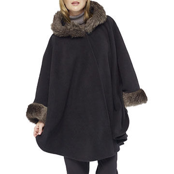Parkhurst Womens Helena Hooded Cape with Faux Fur Trim