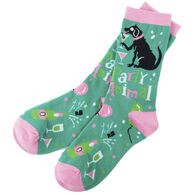 Hatley Little Blue House Women's Party Animal Crew Sock