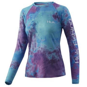 Huk Womens Tie-Dye Pursuit Graphic Long-Sleeve T-Shirt