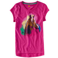 Carhartt Girl's Watercolor Pink Horse Short-Sleeve T-Shirt