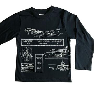Spudz Toddler Boys Airplane Blueprint Long-Sleeve T-Shirt