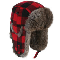 Crown Cap Men's Buffalo Check Rabbit Trimmed Aviator