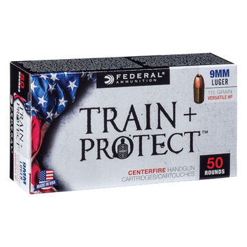Federal Train + Protect 9mm Luger 115 Grain VHP Handgun Ammo (50)