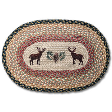 Capitol Earth Oval Deer/Pinecone Braided Rug